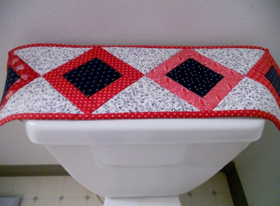 Quilt independence day americana toilet topper red white and blue