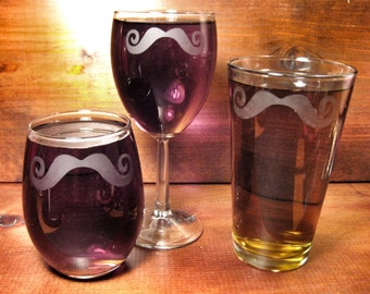 Fancy Mustache Etched Glass