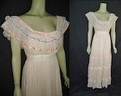 Peach Crinkle Pleated Vintage 1980's Gunne Sax Maxi Prairie Dress M