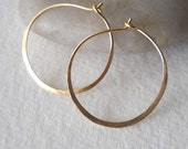 1 Inch 14K Solid Gold Hammered Endless Hoops (20 gauge) Modern Bright Finished Large Sized Hoops
