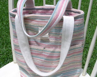 Summer Tote, Medium Size, Pastel Color Stripe Nubby Textured Decorator Fabric, Shopping, Electronics, Book Bag etc.