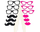 Photo Booth Party Props LIPS, MUSTACHES, GLASSES & Sticks Set of 12 pieces