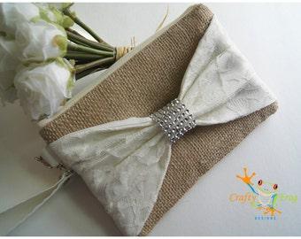 Burlap Wristlet - Bridesmaids Gifts - Wedding Clutch - Burlap - satin lace - Lace Wristlet - Lace Bridesmaids gift