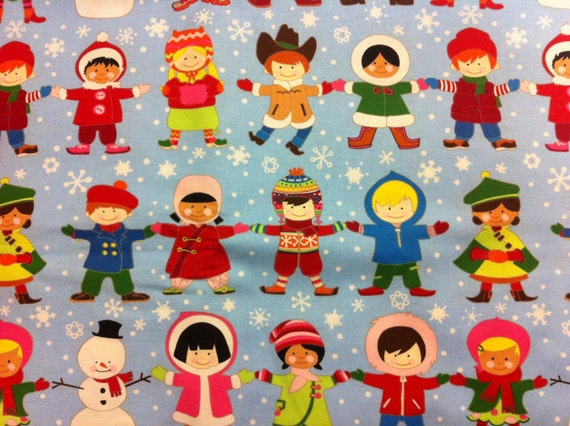 Christmas children around the world cotton by universalideas for Children s material sewing