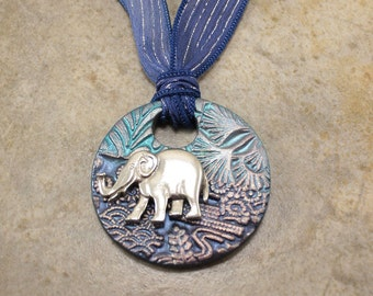 Navy Denim Blue Elephant Necklace Silver Light Blue Turquoise Hand Dyed Silk Ribbon Necklace Unique Elephant Jewelry