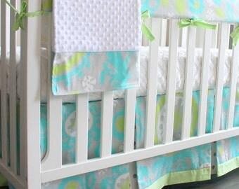 Ocean Blue Bumperless Crib Rail baby bedding set.