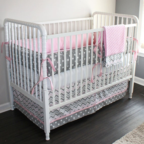 pink and gray chevron crib baby bedding set. Black Bedroom Furniture Sets. Home Design Ideas
