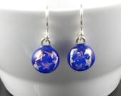 star earrings blue and gold dichroic glass round