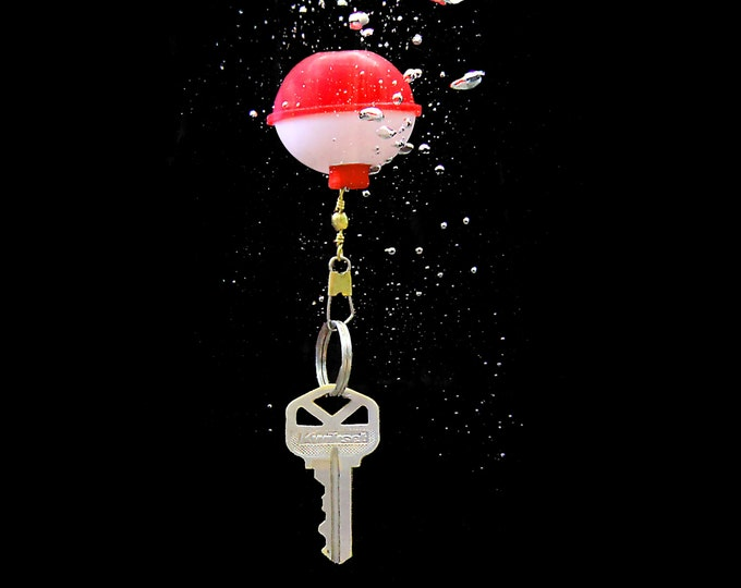 Bobber Keyring Chain, brilliantly Buoyant, Floating Keyring, Stocking Stuffer, classic fishing lure, wholesale etsy gifts, jet ski key ring