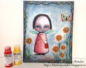 Original Mixed Media Painting - 'Prayers in the Garden' Whimsical Portrait
