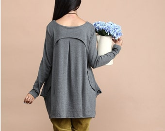 Casual Long sleeved T-shirt Blouse for Autumn and Spring - Gray