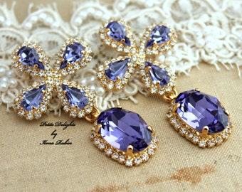 Purple Violet Chandelier Rhinestones,Bridal earrings,Christmas gift, gift for woman - 14k Gold Plated Crystal earrings