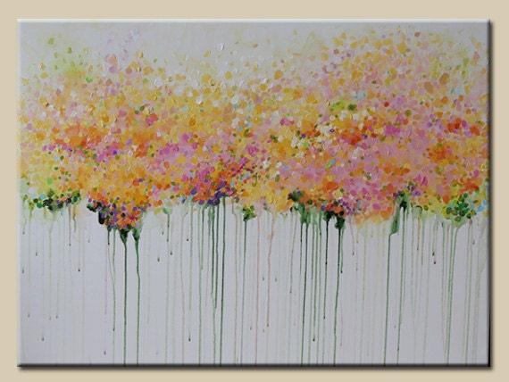 Items similar to abstract painting acrylic painting for How to paint flowers with acrylics on canvas