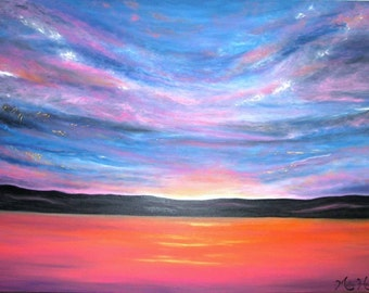 LARGE Abstract Sunset Painting Cloudscape Ocean Seascape Lake Mountain Landscape Acrylic Modern Contemporary Art Pink Blue Gold 30 x 40