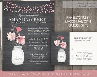 Printable Mason Jar Wedding Invitations- Rustic Mason Jar Wedding Invitation Woodgrain with Pink Flowers and String Lights Digital Files