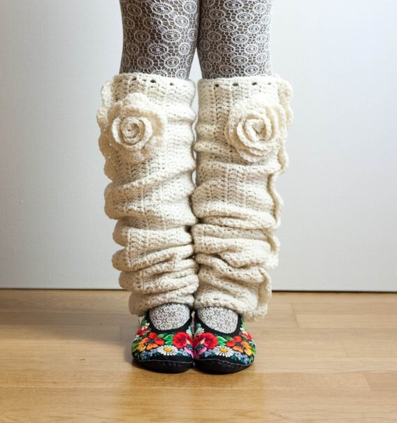 CROCHET PATTERN instant download - Seven League Leg Warmers - creamy white ivory christmas beautiful fashionable leggings rose tutorial PDF