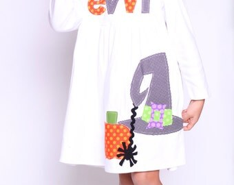 Witch Dress - Halloween Girls Dress- Halloween Dress - Witch Hat Applique - You Choose Dress Color and Sleeve Length