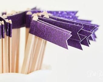 25 Dark Purple Glitter Paper Flag Stir Sticks or Drink Stirrers