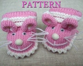 Knitted baby booties 'pink mice' (pdf pattern),(sizes 0-6/6-12 months)