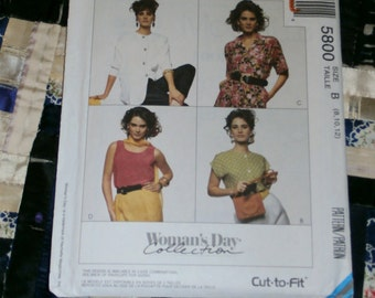 1992 McCalls Pattern 5800 for Misses Blouses and Tank Top Size 8 -12 Uncut, Factory Folds
