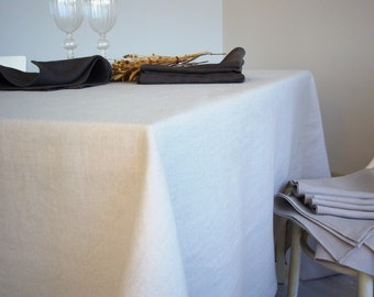 Linen tablecloth -Softness- softened stonewashed linen, linen throw, table linens, fog pearl grey linen, Eco-friendly, table decor,