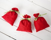 Gift bags - Red linen christmas gift bags set 10 - Christmas wedding favor bags with green polka dot ribbon