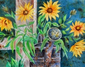 Watercolor of Sunflowers Rusty Water Can Country by Artist Martha Kisling