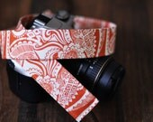 Autumn Camera Strap dSLR Burnt Orange Floral camera neck strap - Fall Fashion, Fall Accessories