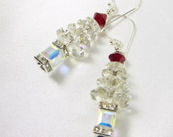 Large Christmas Tree Earrings in Swarovski Silver Shade and Crystal AB on Bali 925 sterling silver wires