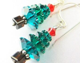 Christmas Tree Earrings in Swarovski Emerald Green on Sterling Silver Wires