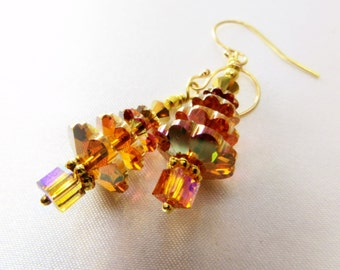 Christmas Tree Earrings in Swarovski Crystal Copper on 14k gold fill wires