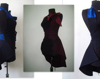 Elegant  dark blue and burgundy   vest with removable bottom