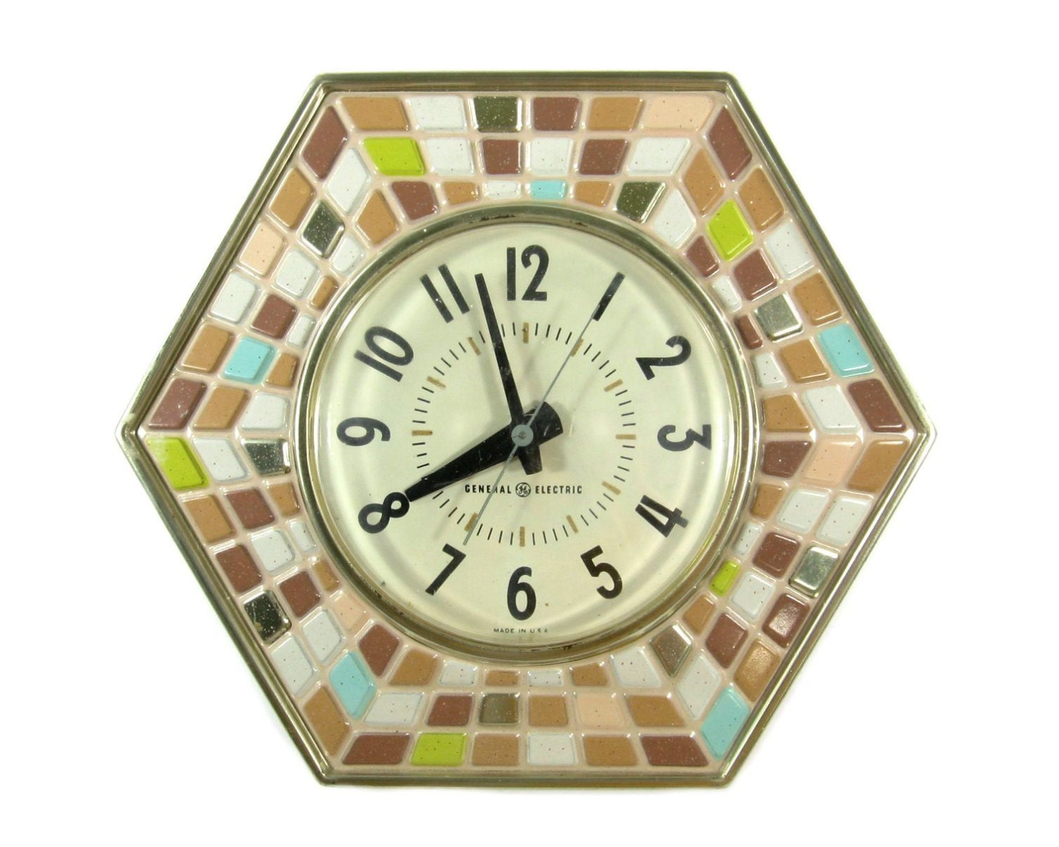 Vintage GE Kitchen Wall Clock / Mosaic Design General Electric
