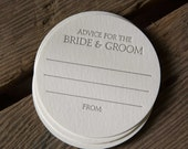 100 Advice for the BRIDE & GROOM Coasters, new coaster stock, modern design (Letterpress printed, 3.5 inches circle), perfect for weddings