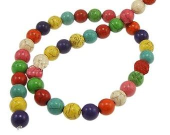 48 Multi Color Gemstone Beads 8mm - 1 Strand -- BD471