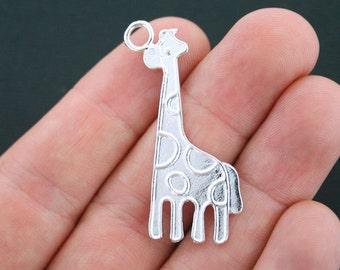4 Giraffe Charms Silver Plated - SC3848