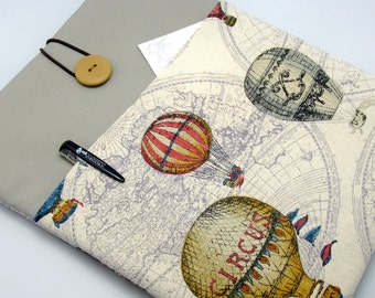 """11"""" 13"""" Macbook Pro case, Macbook Air cover, Surface RT Pro, Laptop, Custom tablet sleeve with 2 pockets PADDED - Hot air balloon"""