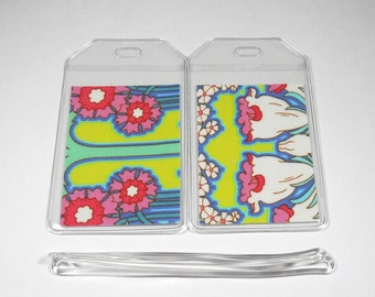 Luggage Tags Set of 2 Amy Butler Soul Blossoms Bliss Fuchsia Tree Chartreuse