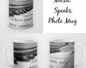 Coffee cup piano keys Tea mug music quote Drink Hans Christian Anderson typography Where words fail music speaks photography black white