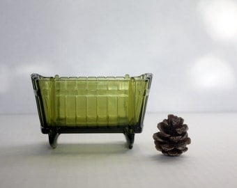 Vintage Green Glass Cradle - Planter / Candy Dish