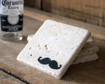 Mr. Mustache Coasters, Natural Tumbled Marble Rustic Coaster Set of 4, Man Cave Home Bar Decor Handmade Shabby Chic Gift for Him
