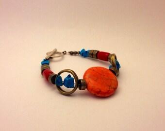 Bracelet pyrite et pierre orangée