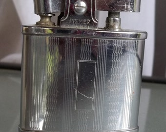 Premier Silver Lighter, Vintage, Smoking Accessory, Made in Japan, Monogram Ready, Prop