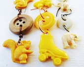 Vintage Button and Charm Earrings - Yellow Squirrel, Roller Skates