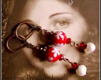 Red & White Art Glass, Pearls, Czech Crystal Downton Abbey, Roaring Twenties, Vintage Titanic Earrings