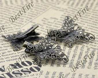 6 pcs of New style Antique Bronze Flower bobby pins, filigree butterfly bobby pins