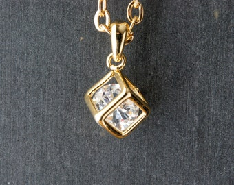 Golden Cube Necklace, Cubic Zirconia Pendant, Square Charm Jewelry, Crystal Floating Accent