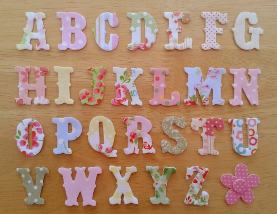 vintage style iron on fabric letters 3cm uppercase appliques made to order choose