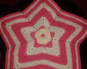 pink and white stripe star shape baby comfort blanket glitter wool vegan crochet handmade
