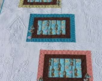 Birdhouse Quilt Art Quilt Wall Hanging Heavily Quilted with Yellow, Turquoise, Brown, Light Orange and White
